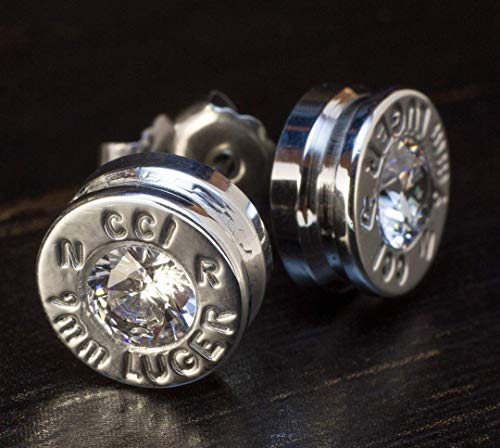 Earrin Earrings Jewelry - 9MM Aluminum Bullet Casing Earrings Clear CZ with Titanium Posts, Hypoallergenic, Nickel Free, Bullet Earring Studs