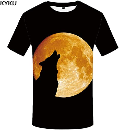 KYKU Marca Lobo Camiseta Luna Camisetas Moonlight Camiseta Hombres 3D Camiseta Animal Sexy Masculina Camisas Japonesa para Hombre Ropa para Hombre tee: Amazon.es: Deportes y aire libre
