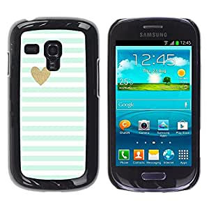 Be Good Phone Accessory // Dura Cáscara cubierta Protectora Caso Carcasa Funda de Protección para Samsung Galaxy S3 MINI NOT REGULAR! I8190 I8190N // Blue White Baby Stripes Pattern
