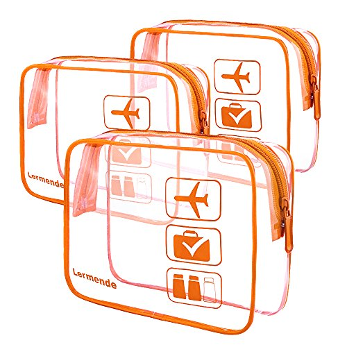 3pcs Lermende Clear Toiletry Bag TSA Approved Travel Cosmetic Makeup Bags Luggage Carry On Airport Airline Compliant Bags - Orange