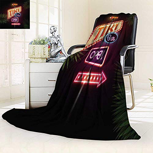 YOYI-HOME Twin Size Bed Duplex Printed Blankets Super Soft Neon Sign Fleece Blanket for Bed or Couch/59 W by 47