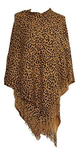 Womens Leopard Print Ruana - Camel