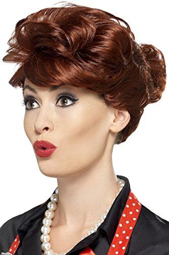 Smiffy's Women's Auburn Wig with Bun, One Size, 50's Housewife Wig, 43701