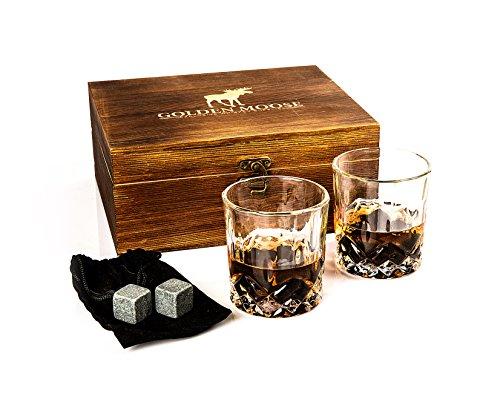 Golden Moose Whiskey Stones Gift Set – 2 Whiskey Glasses (220ml), 8 Exclusive Whiskey Rocks & Velvet Bag + Tongs in a Elegant Wooden Gift Box by Golden Moose (Image #3)