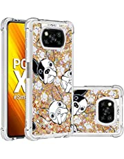 Miagon Liquid Clear Case for Xiaomi POCO X3 NFC,Soft Glitter Shockproof Cover Floating Bling Sparkle Shiny Heart Quicksand Liquid Clear Protective Case Cover-Dog