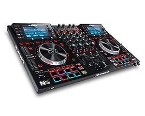 Numark NVII - Controlador de DJ de Doble Pantalla y 4 Decks para Serato DJ (Incluido) con Platos Metálicos de 5 Pulgadas, 16 Pads Sensibles a la Velocidad de Pulsación y Toolroom Artist Packs