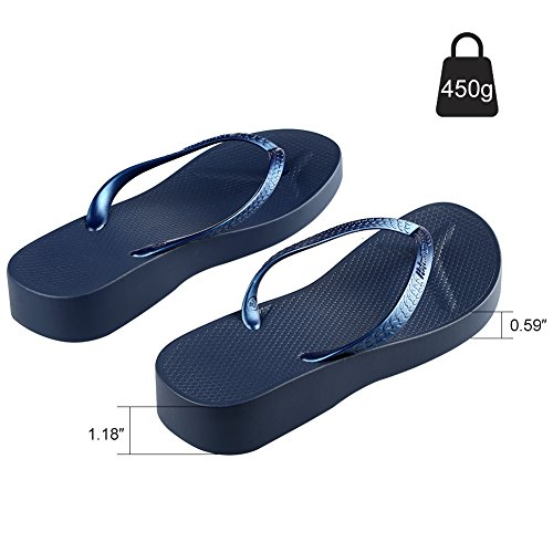 Platform Heel Wedge Sandals Blue Flip Slippers Fashion Summer Beach Hotmarzz Flops Women's Stylish High AqfXzc8aT