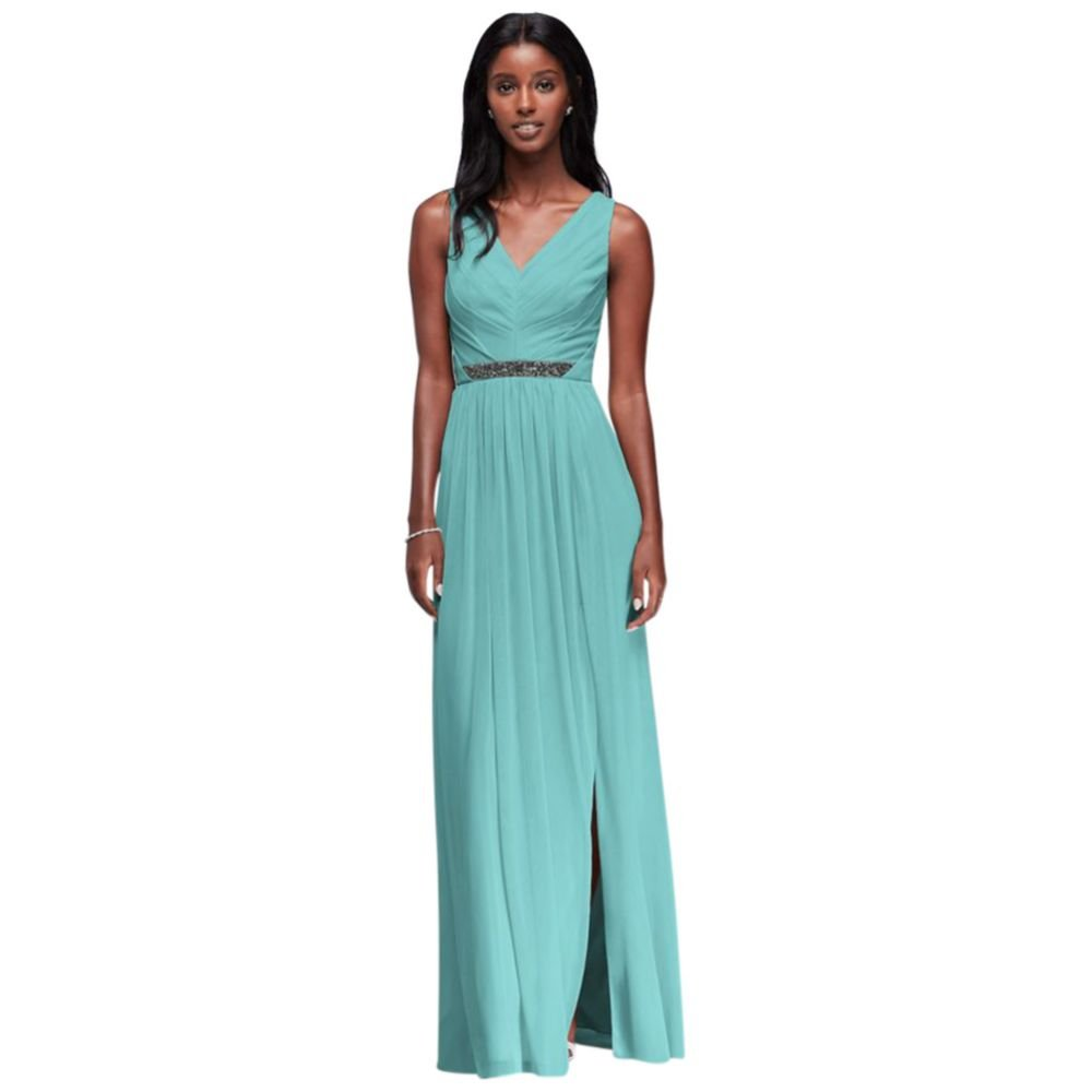 David's Bridal Long Mesh Bridesmaid Dress with V-Neck and Beaded Waistband Style W11092, Spa, 8
