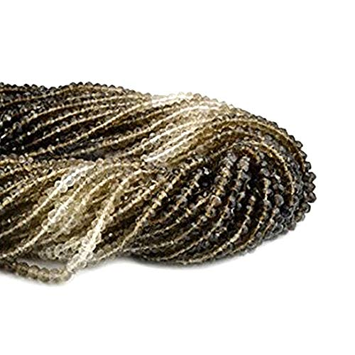 1 Strand Smokey Topaz Shaded Micro Faceted Rondel 3-4mm 13
