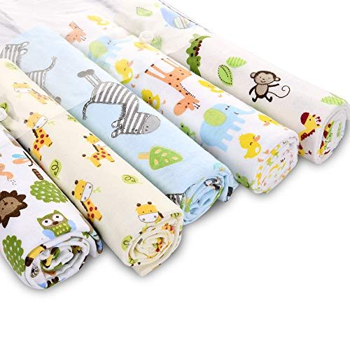 Unisex Receiving Blankets - Zoo Animals Baby Blankets - Baby Blankets for Boys - Baby Blankets for Girls - Baby Elephant, Giraffe, Zebra and Owls Flannel Blankets - 5 Pack ()