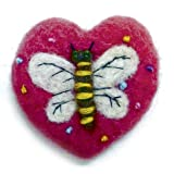 """NEEDLE FELTED DRAGONFLY HEART SHAPED ORNAMENT 2"""""""