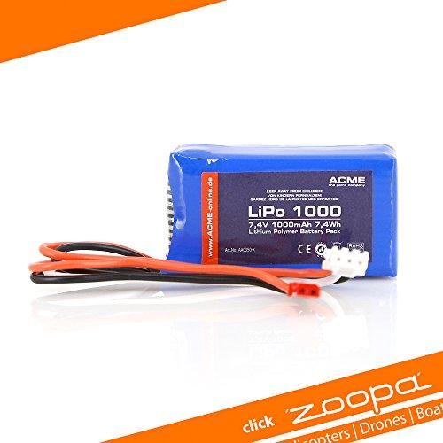 ACME AA0350-X Lithium Polymère 1000mAh 7.4V batterie rechargeable - Batteries rechargeables (1000 mAh, Lithium Polymère (LiPo), 7,4 V, Bleu, 1 pièce(s))