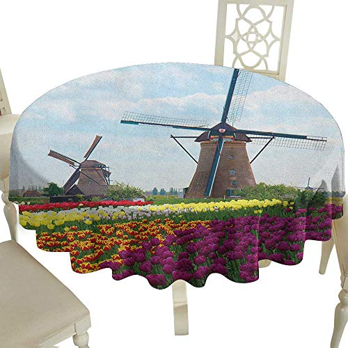 (Cranekey Flower Tablecloth 65 Inch Windmill,Bedding Plants of Netherlands Farm Country Heritage Historical Architecture Theme Multicolor for Home,Party,Wedding & More)