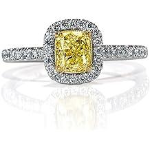 Mark Broumand 1.21ct Fancy Light Yellow Cushion Cut Diamond Engagement Ring