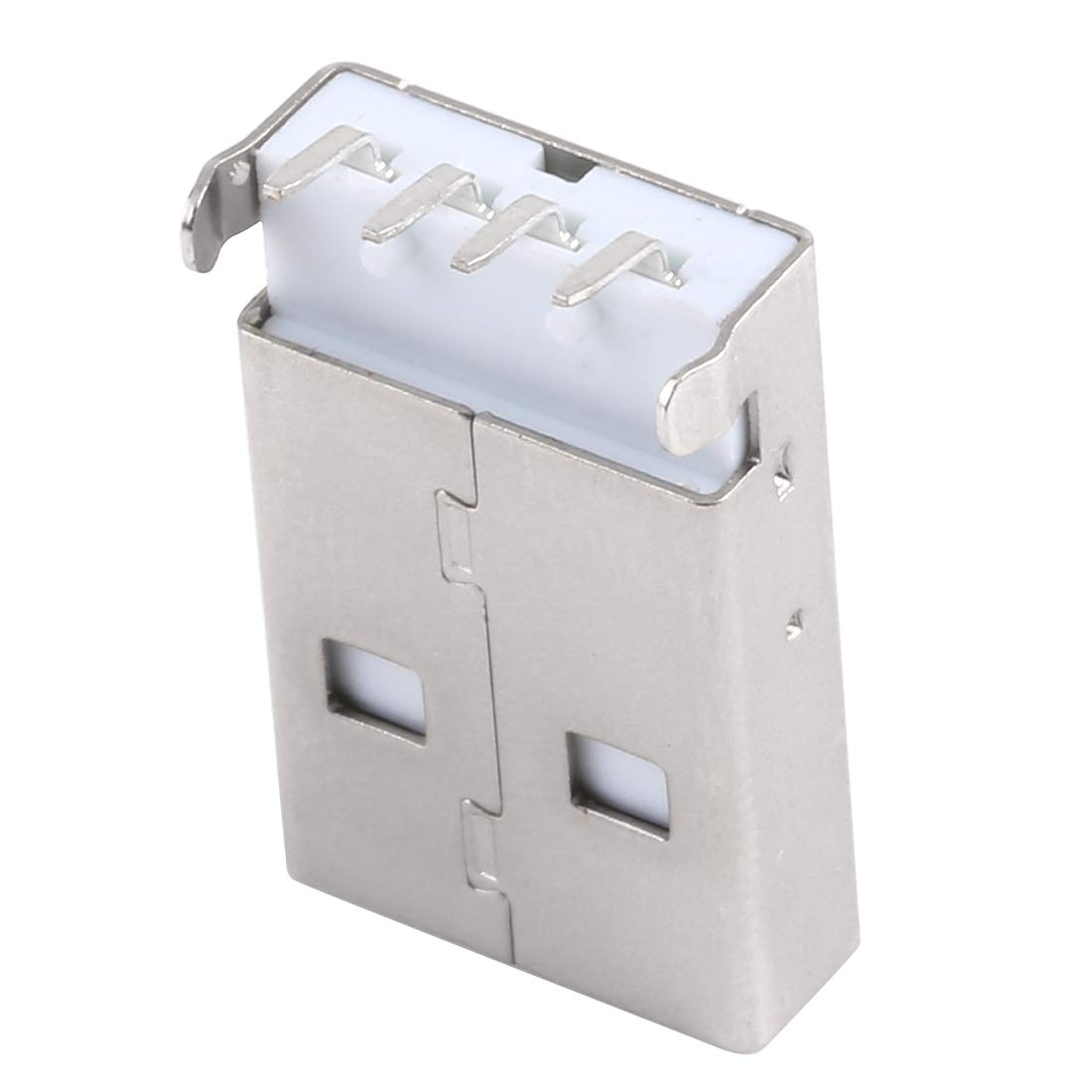 Electroplated Semi-tin 1u Iron Case IPartserve Computer Accessories JAA 50 PCS USB 2.0 AM 90 Degrees Socket Connector PBT White