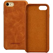 Jisoncase iPhone 7 Case Genuine Leather Hard Back Case Slim Fit Protective Cover Snap on Case for iPhone 7 [Saddle Brown]-JS-IP7-02A20