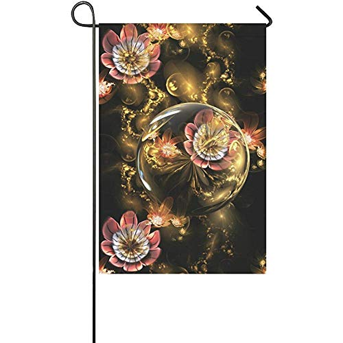 Staroutah Custom Rose Flowers Golden Crystals Outdoor Decorative Flag Double Garden Flag 12 x 18 Inches