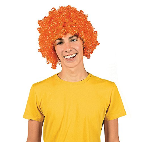 (Orange Team Spirit Afro Wig)