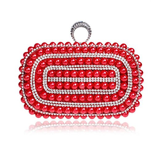 Sposa Wyba Oro Diamante Del Di Perla Spalla Della Delle Partito Sacchetto Red Donne wrCrq6I