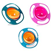 Berry President Set Of 3: Magic Bowl 360 Degree Rotation Spill Resistant Gyro Bowl with Lid For Toddler Baby Kids Children, Orange+Blue+Green