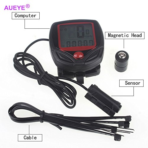 Aueye Digital Bicycle Computer Leisure Multi-Functions Waterproof Cycling Odometer Speedometer With Lcd Display Portable Bike Computers Riding Trip Time Calorie Consumption Stopwatch Alert Feature