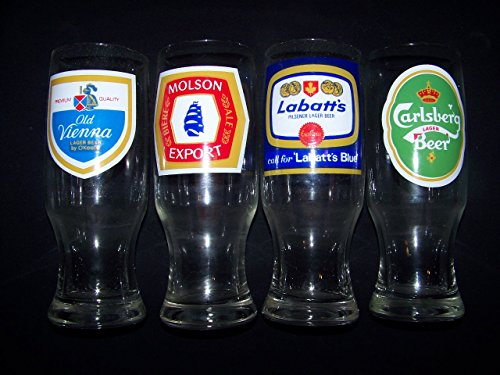 Canadian 4 Vintage Beer Glass Set Molson Export Labatt's Blue Old Vienna (Old Vienna Beer)