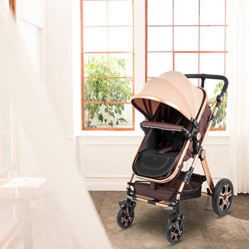 51yhvYrqHAL - VEVOR Baby Stroller 2 In 1 Stroller Bassinet Stroller Foldable Anti-Shock Newborn Stroller Baby Carriage Stroller Luxury Baby Trend Stroller Stroller For Baby Pram Stroller