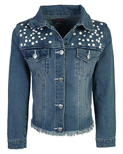 WallFlower Girls Fashion Denim Jackets, Medium Wash w/Pearls, Size Medium - 10/12