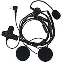 AOER 2 pin Open Half Face Motorcycle Bike Helmet Earpiece Headset Mic Microphone for Two Way Radio Walkie Talkie Motorola CLS1413 CLS1450 CLS1450C MV12 MV12CV MV21C DTR550 DTR610 DTR650