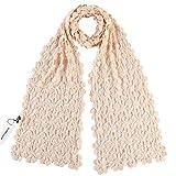 (US) ZORJAR 100% Handmade PURE Cashmere Blend Plum Blossom Design Crochet Knit Scarf (Baby Pink)