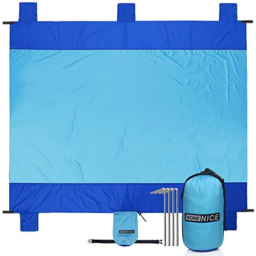 WoneNice Sand Free Beach Mat Blanket, 10' x 9' Extra Large for 7 Adults, Waterproof Quick-Dry Pocket Blanket with 4 Stacks for Picnic, Camping, Hiking (Sky Blue/Blue)