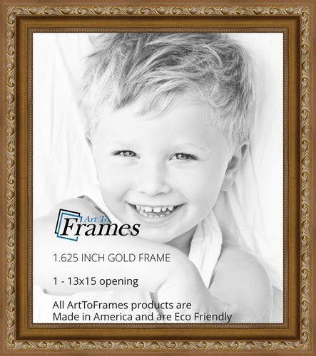 ArtToFrames 13x15 inch Gold with beads Wood Picture Frame, 2WOMD10051-13x15 ()