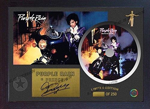 S&E DESING Purple Rain Prince Signed Framed Photo CD Disc Purple Rain ()