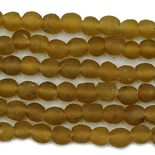World's Natural Treasures - 70 Tiny Recycled Glass Beads (6.5mm) -Amber - African Fair Trade - Wholesale - Krobo Tribal Trade Beads - Made in Ghana (320-GHA-KRO)