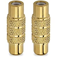 HTTX Premium Female to Female RCA Connector A/V Joiner Video and Audio Coupler Metal Adapter Component Gold Plated (2-Pack)