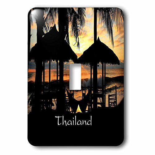 Florene Worlds Exotic Spots - Image of Tiki Huts Palms And Sunset In Thailand - Light Switch Covers - single toggle switch - Huts Thailand