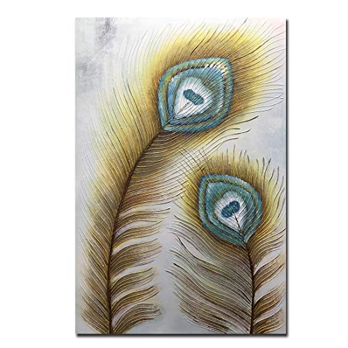 Amei Art Paintings,32x48inch 3D Golden Peacock Feather Canvas Paintings Abstract Artwork Handmade Textured Oil Paintings on Canvas Modern Home Decor Wall Art Wood Inside Framed Ready to Hang