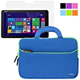 BIRUGEAR Slim Handle Carrying Portfolio Neoprene Sleeve Case w/ Screen Protector for 12.5'' Asus Transformer Book T300 Chi Touchscreen Laptop/ Tablet - Blue