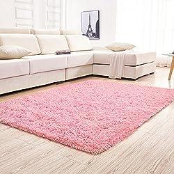YJ.GWL Soft Pink Shaggy Area Rugs for Girls Room Bedroom Non-Slip Kids Carpet Baby Nursery Decor Fluffy Modern Rug 4 Feet x 5.3 Feet