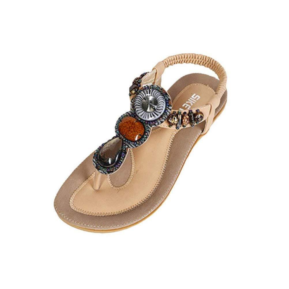 Bohemian Sandals,Boomboom 2019 Women's Bohemian Beaded Ankle Strap Sandal (Khaki,US 8.5)