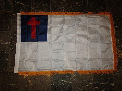 3x5 Christian Christ Cross Poly Nylon Sleeve w/ Gold Fringe