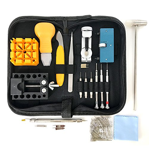 HAOBAIMEI 168 PCS Watch Repair Kit Professional Spring Bar Tool Set,Watch Battery Replacement Tool Kit,Watch Band Link Pin Tool Set with Carrying Case and Instruction Manual (Black) from HAOBAIMEI