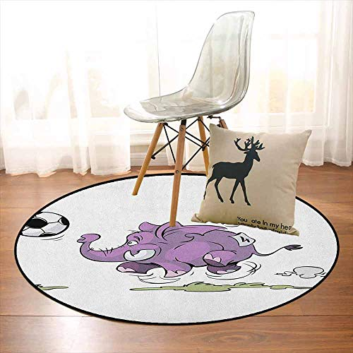 Elephant Children's Bedroom Carpet Elephant Playing Soccer with a Kid Mario Moustache Sports Theme Football Print Soft Fluffy D59 Inch Purple White ()