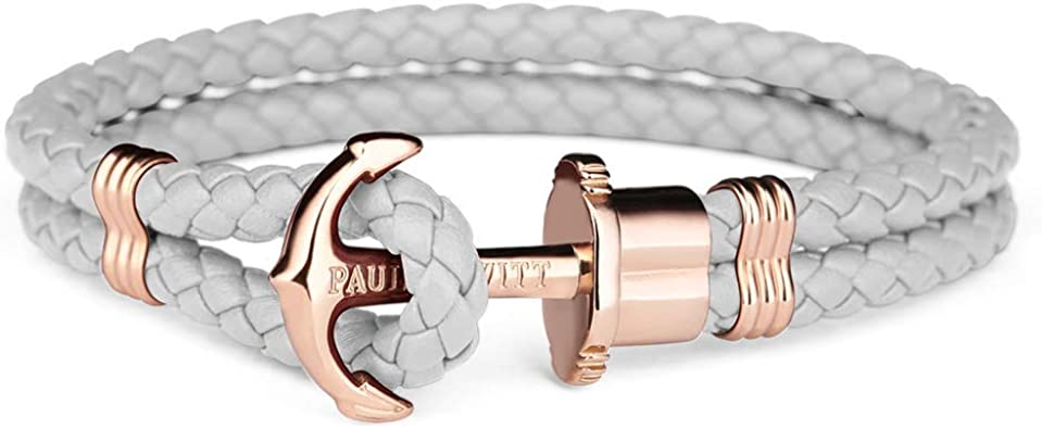 Paul Hewitt Pulsera para Mujer PHREP - Pulsera de Cuero Gris con Ancla, Brazalete de Mujer con Cuerda de Vela y Ancla, Accesorio de Acero Inoxidable bañado en Oro Rosa: Amazon.es: Joyería
