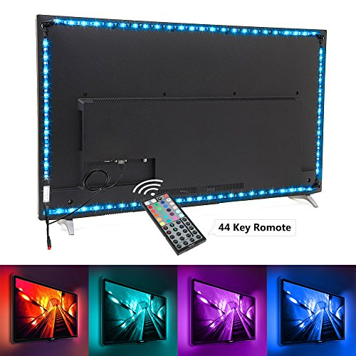 Nexlux Led Strip Lights, 9.8ft Black USB LED Strip Lights TV Backlight Kit 20 Colors TV Lights 5050 LEDs Bias Lighting with 44-Key IR Remote Controller for 46 inch~65 inch HDTV PC Monitor Home Theater