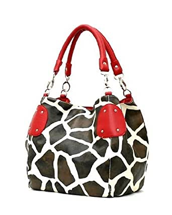 FASH Giraffe Print Faux Leather Tote Shoulder Handbag,Red,One Size