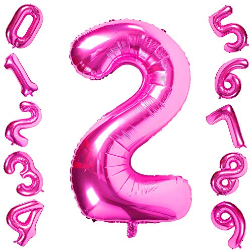 40 Inch Pink Big Number 2 Balloon Birthday Party Decorations Helium Foil Mylar Number Balloon Digital -