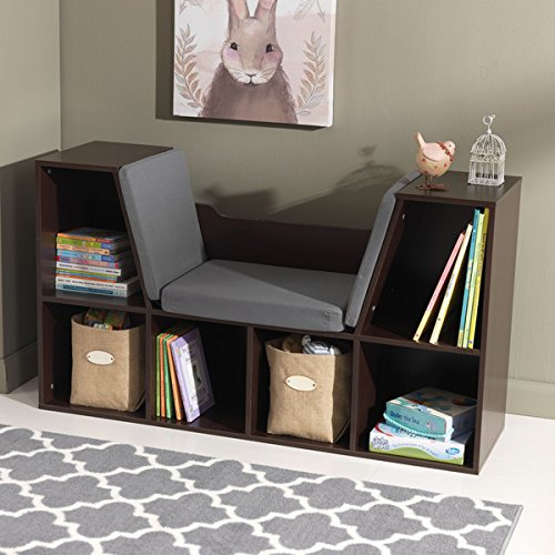 KidKraft Espresso 6 Storage Spaces Bookcase with Comfortable Grey Cushion as Reading Nook
