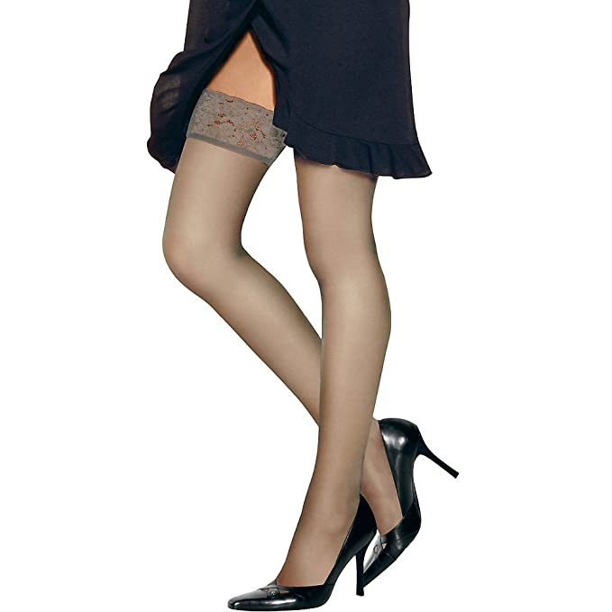 adf067c3094 Image Unavailable. Image not available for. Color  Hanes Women`s Silk  Reflections Lace Top Thigh Highs ...