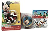 Disney Mickey Mouse Cupcake Liners, Cupcake FunPix Toppers and Red Black Mouse Shaped Cupcake Sprinkles Bundle by Wilton